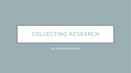 Collecting Research Worksheet