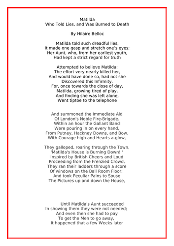 Matilda Who Burned to Death Poem by Hilaire Belloc with questions