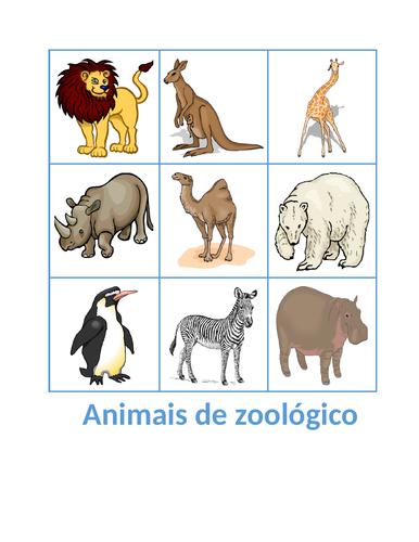 Animais de zoológico (Zoo Animals in Portuguese) Bingo