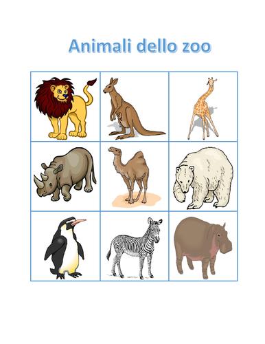 Animali dello zoo (Zoo Animals in Italian) Bingo