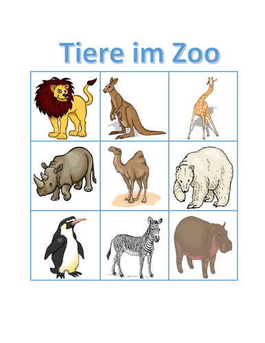 Tiere im Zoo (Zoo Animals in German) Bingo
