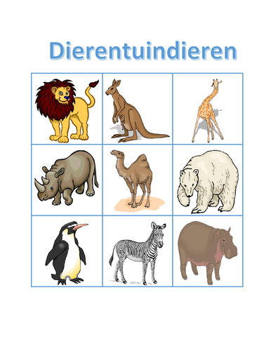 Dierentuindieren (Zoo Animals in Dutch) Bingo