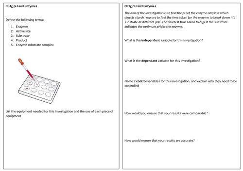 CB1g Core Practical Revision Sheet and Answers
