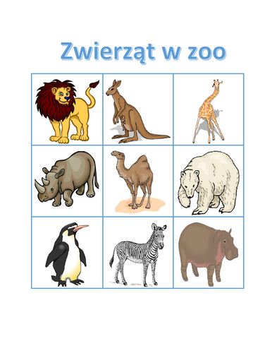 Zwierząt w zoo (Zoo Animals in Polish) Bingo