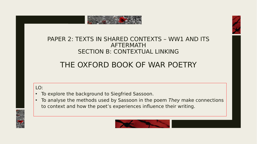 A Level English Literature  WW1 'They' by Siegfried Sassoon