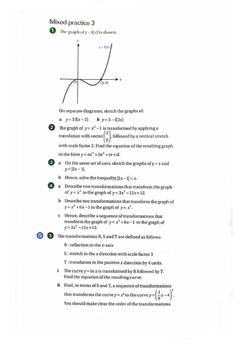 OCR A-Level Maths Transformation Of Graphs Questions With Answers