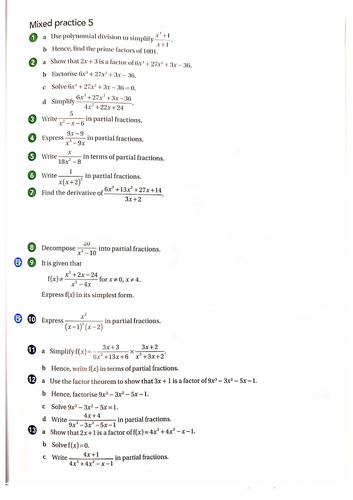 OCR A-Level Maths Rational Functions and Partial Fractions Questions With Answers