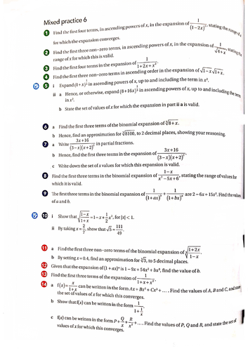 OCR A-Level Maths Binomial  Expansion Questions With Answers
