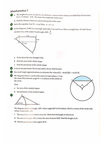 OCR A-Level Maths Radian Measure Questions With Answers