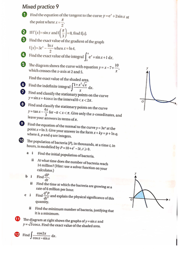 OCR A-Level Maths Calculus Of Exponential and Trigonometry Function Questions With Answers
