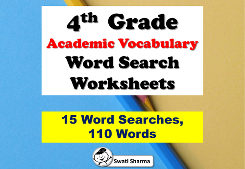 4th Grade Academic Vocabulary, Word Search Worksheets