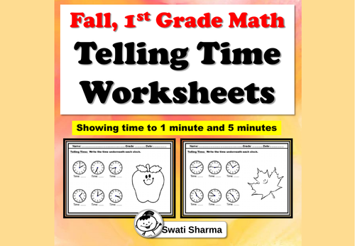 Fall, 1st Grade Math, Telling Time Worksheets