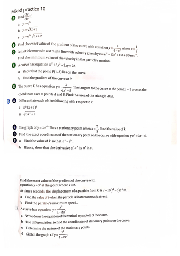 OCR A-Level Maths Further Differentiation Questions With Answers