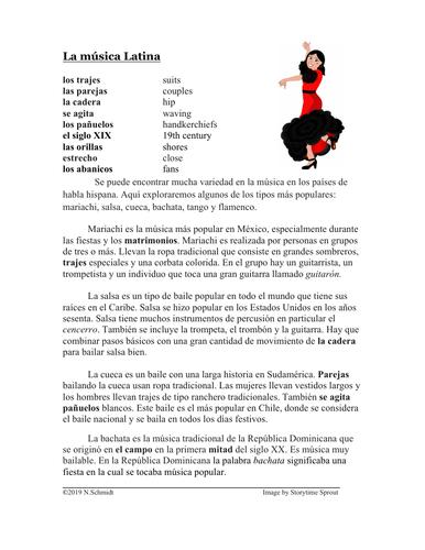 Música Latina Lectura y Cultura: (Mariachi, Salsa, Flamenco, Tango, Cueca)