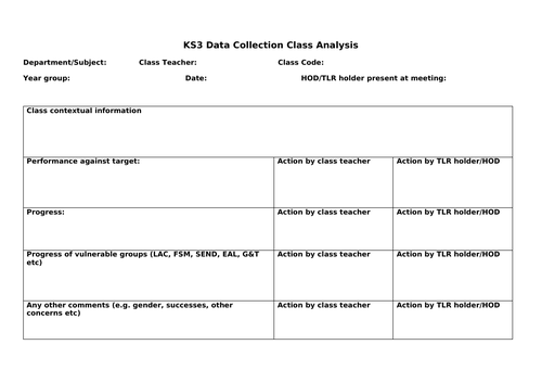 KS3 Data Collection Review Template - New Teacher Ideas