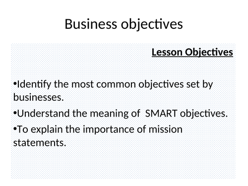 Business Objectives Powerpoint (NEW SPEC)