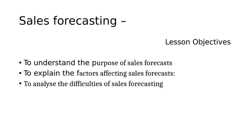Sales Forecasting Powerpoint (NEW SPEC)
