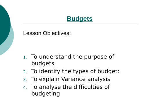Budgets Powerpoint (NEW SPEC)
