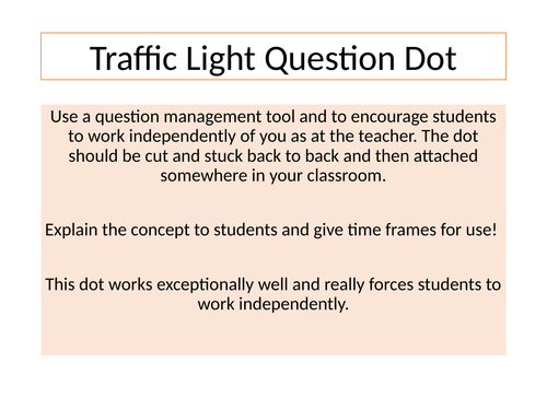 Traffic Light Questions Dot - Encourage Independent Working Problem Solving - Display