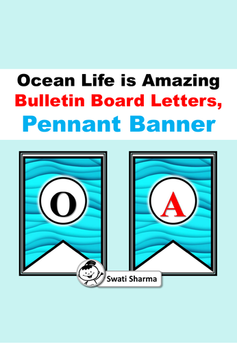 'Ocean Life is Amazing', Bulletin Board Letters, Pennant Banner
