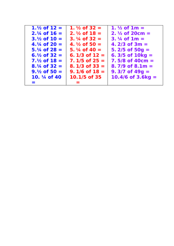 Fractions of a Number (differentiated)