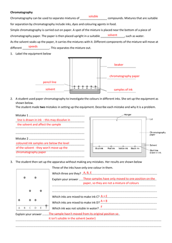 Chromatography worksheet (KS3 or GCSE)