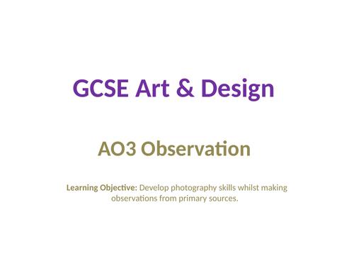 GCSE Art - AO3 Photography