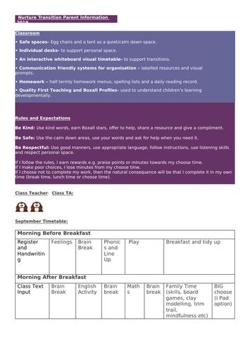 Nurture Parent Transition Sheet