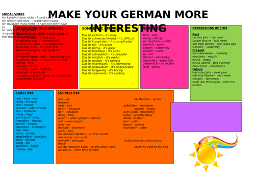 German essential learning mat