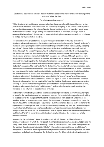 Full marks, A* AQA A-level essay response analysing Desdemona