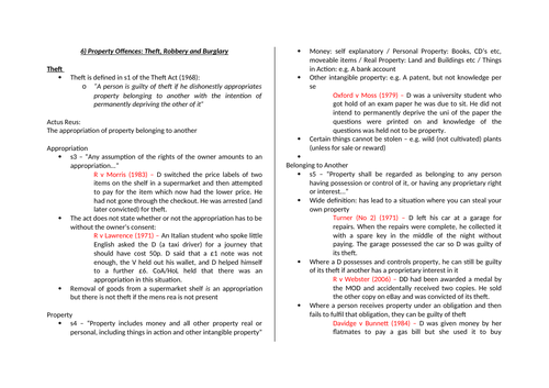 Theft Revision Booklet for students
