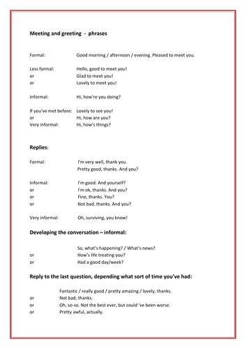 English language - Meeting, Greeting + Chatting - useful phrases