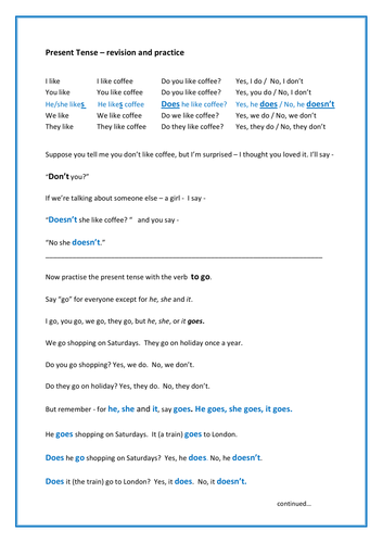 English language learning - Present Tense