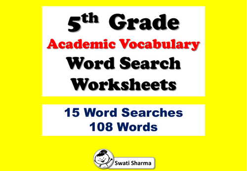 5th Grade Academic Vocabulary, Word Search Worksheets
