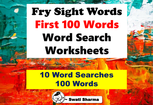 Fry Sight Words, First 100 Words, Word Search Worksheets