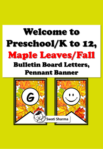 Welcome to PreK/K to 12, Maple Leaves/Fall, Bulletin Board, Pennant Bannner
