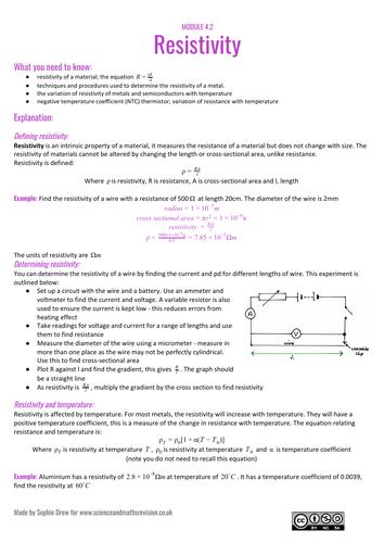 Resistivity A Level revision sheet