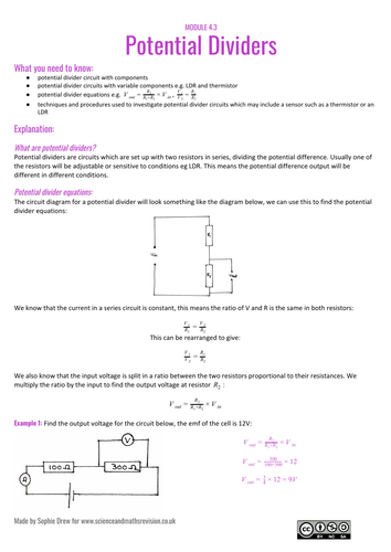 Potential dividers A Level physics sheet