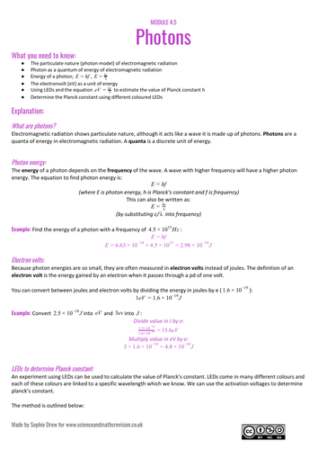 Photons sheet for A level physics