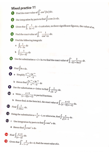 OCR A-Level Maths Further Integration Techniques Questions With Answers