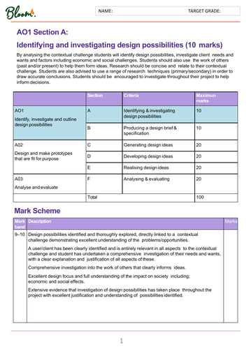 AQA NEA 9- 1 Design and Technology Mark Scheme Student Self Assessment Tracker