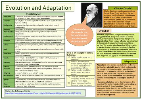 Evolution and Adaptation Charles Darwin Knowledge Organiser/ Learning Mat