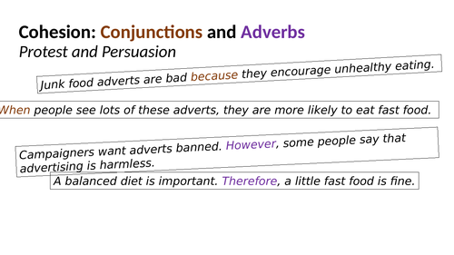 Conjunctions and adverbs for cohesion (Presentation & Exercises) - Year 5 SPAG