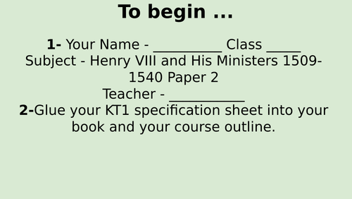 Edexcel 9-1 History Henry VIII and his Ministers Introduction/timeline.  Lesson 1.