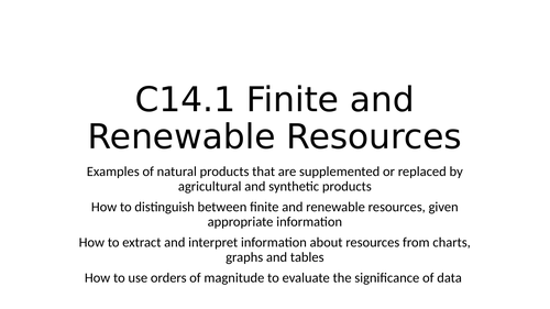 C14 The Earth's Resources SOW