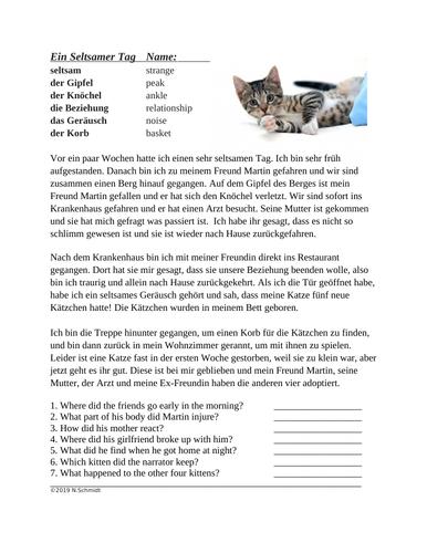 German Reading with SEIN Verbs: Rennen, Fahren, Gehen, Passieren etc.