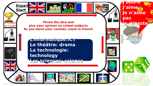 dice game: giving your opinion about school subjects in French with vocabulary mat