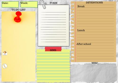 Teacher Daily Desk Planner Sheet