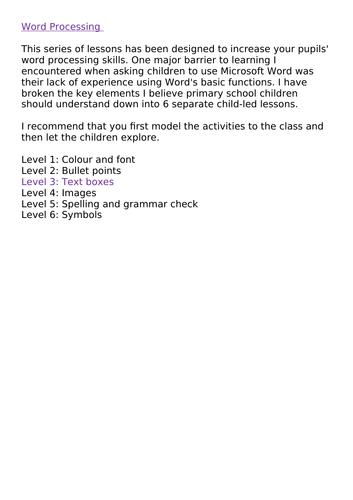 Word Processing Skills KS2 Level 3: Text boxes