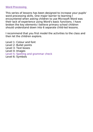 Word Processing Skills KS2 Level 5: Spelling and grammar check